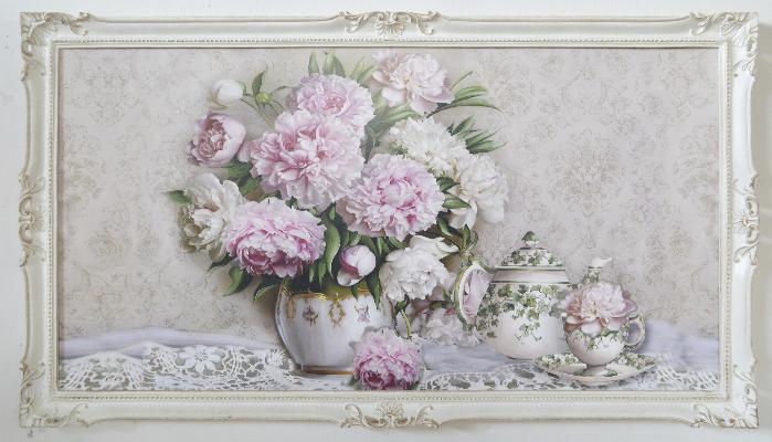 Quadro-con-cornice-bianca-shabby-e-fiori-rosa-142x82cm